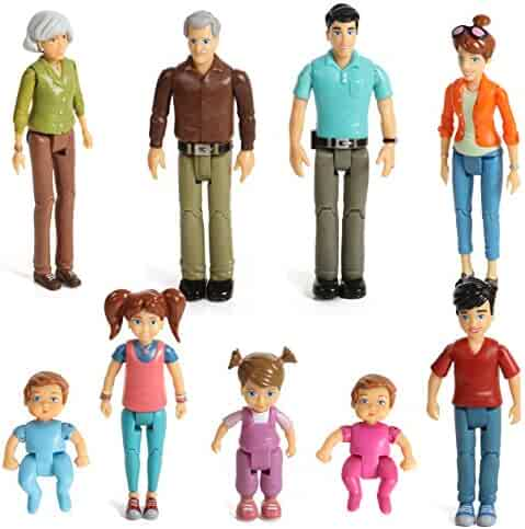 Beverly Hills Doll Collection  Sweet Li'l Family Set of 9 Action Figure Set- Grandpa, Grandma, Mom, Dad, Sister, Brother, Toddler, Twin Boy & Girl