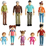 Sweet Li'l Family Set of 9 Action Figure Set- Grandpa, Grandma, Mom, Dad, Sister, Brother, Toddler, Twin Boy & Girl