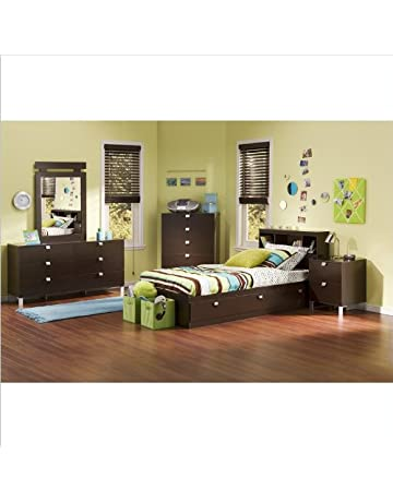 South Shore Cakao Kids Twin 4 Piece Bedroom Set With Bookcase Headboard In  Chocolate
