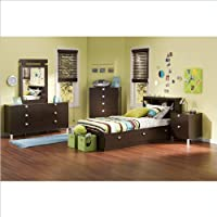 Kids Twin 4 Piece Bedroom Set with Bookcase Headboard in Chocolate