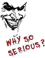 Finest Folia Joker Sticker 10x7cm Why so serious belettering spreuk voertuig decor folie voor auto bus caravan autoaccessoires autosticker clown (zwart mat, K059 + K061 Joker met tekst)