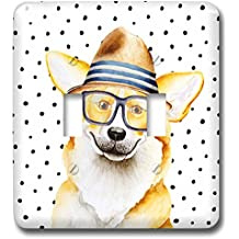 3dRose Uta Naumann Watercolor Illustration Animal - Cute Funny Dog Illustration on Polkadots- Welsh Corgi Pembroke - Light Switch Covers - double toggle switch (lsp_275102_2)