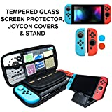 Starter Kit, Stand, Glass Screen Protector, JoyCon Covers, 20 Game Holder   Protective Travel Carry Shell Pouch