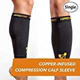 Kupferverbindung Copper-Infused Compression Calf Sleeve, High-Performance, Breathable Design Promotes Proper Blood Flow to Help Improve Circulation for All Lifestyles, Single Sleeve