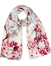 Women's 100% Luxury Long Silk Scarf Shawl - Flower Village Painting
