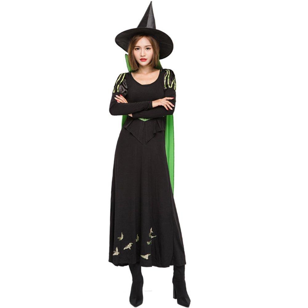D_HOM Fake de Halloween Juego de Brujas de Dos Piezas Cosplay Traje Temperamento Collar Bruja Etapa Rendimiento (Tamaño : S)