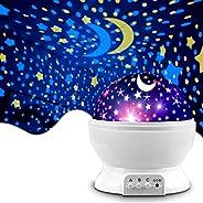 MOKOQI Night Lighting Lamp [ 4 LED Beads, 3 Model Light, 4.9 FT(1.5 M) USB Cord ] Romantic Rotating Cosmos Sta