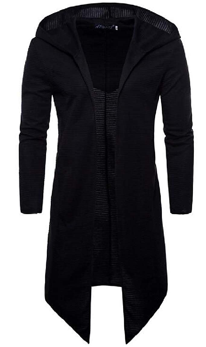 Black Men's Long Sleeves Buttonless Cardigan Cardigan Cardigan Hoodie Coat Poncho Jacket ebd9ee