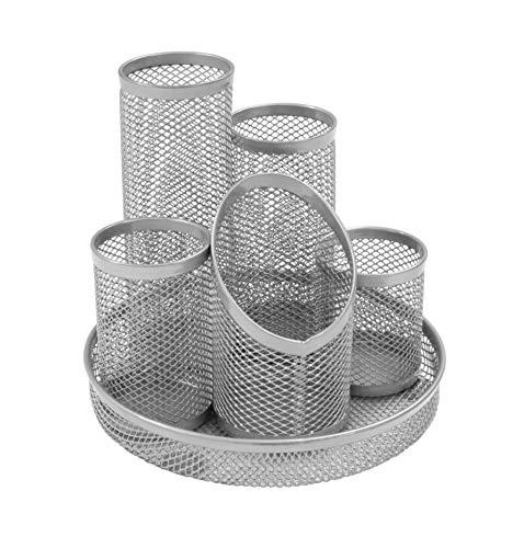 Osco DT5-SLV - Portalapices con 5 tubos de malla metalica, color plateado, plateada