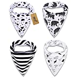iZiv 4 PACK Baby Bandana Drool Bibs with Adjustable Snaps, Absorbent Soft Cotton Lining 0-2 Years (Color-6)