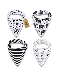 iZiv(TM) 4 PACK Baby Bandana Drool Bibs with Adjustable Snaps, Waterproof TPU Lining 0-2 Years (Color-6)