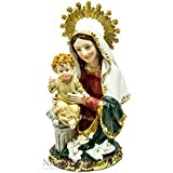 Blessed Virgin Mary with Infant Jesus Figurine Hand Painted Holyland Statue