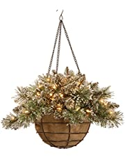 National Tree Company Pre-lit Artificial Christmas Hanging Basket | Flocked with Mixed Decorations and White LED Lights | Glittery Bristle Pine, 20 Inch, Green