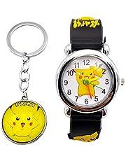 Pokemon Kids Watch Pikachu Watch and Matching Keychain, Silicone Wristwatch Gift Set for Kids, Boys or Girls (Black Key)