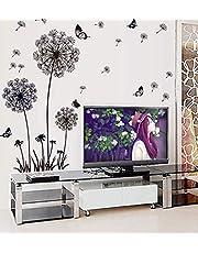 Diy Black Dandelion Flower Butterfly Art Wall Decor Decals Mural Pvc Wall Stickers Home Decor - 2724318556711