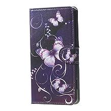 Arroker Hard Plastic Shell and PU Leather Skin Flip Stand Wallet Case for Google Nexus 5X (Butterfly Purple)
