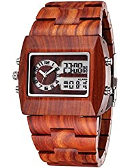 JIANGYUYAN Mens Fashion Classic Casual vintage Wooden wood watches Digital Luminous Calendar wrist watch(red sandalwood)