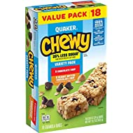 Quaker Chewy Granola Bars, 25% Less Sugar, 3 Flavor Variety Pack, (18 Pack)