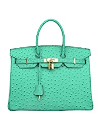 Ainifeel Women's Ostrich Embossed Leather Top Handle Handbags