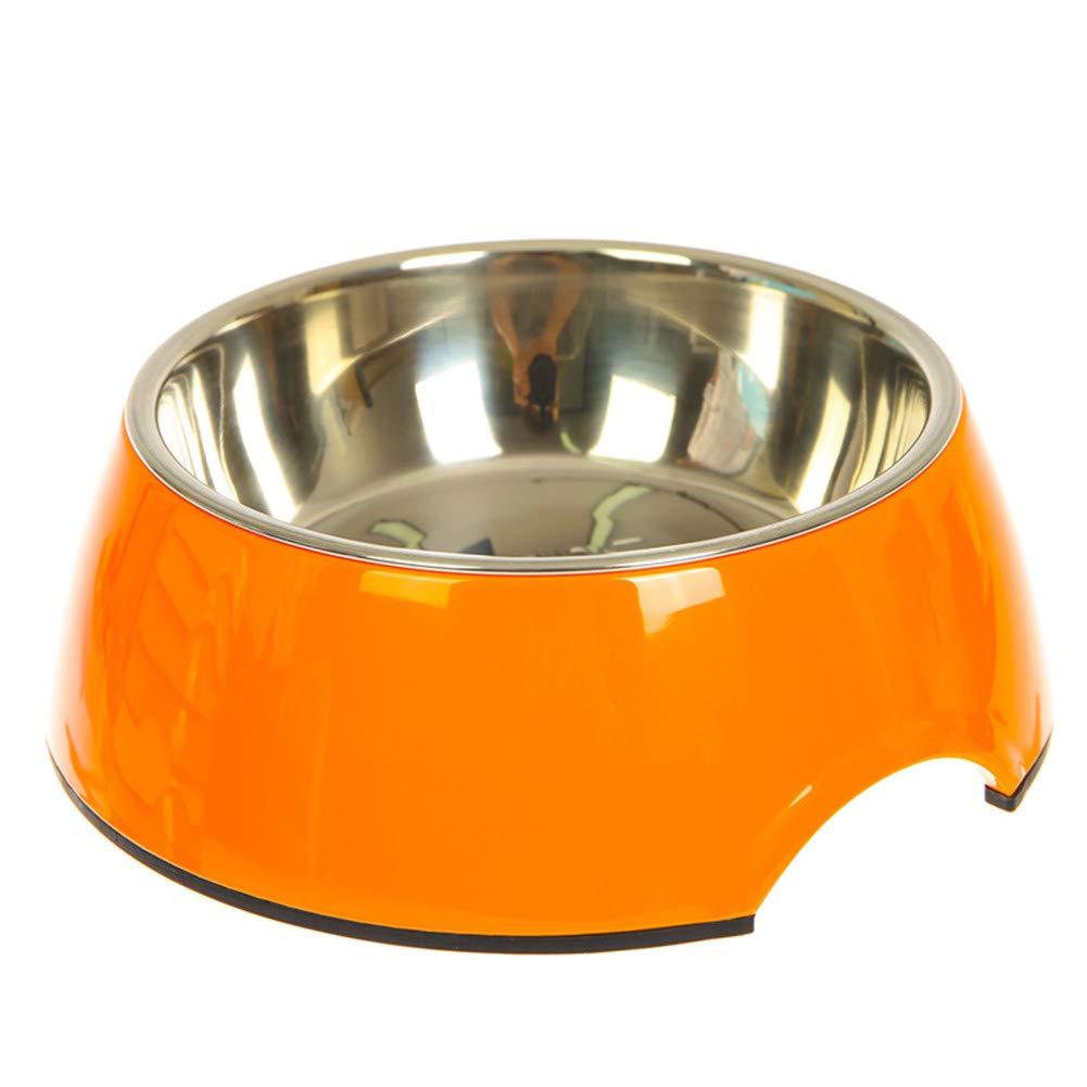 orange WU-pet supplies Dog Bowl cat Bowl Stainless Steel Single Bowl Dog Food Bowl Dog Pot cat Bowl pet Supplies, orange