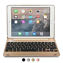 iPad Pro 9.7 / iPad Air 2 keyboard case, [NEW] COOPER KAI SKEL Q0 Bluetooth Wireless Keyboard Portable Laptop Macbook Clamshell Case Cover with 14 Shortcut Keys for Apple iPad Air 2 / Pro 9.7 Gold
