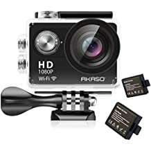 akaso cámara de acción HD 1080P WIFI 12MP Impermeable Videocámara Deportiva de 170grados gran angular lente Batería recargable y 19Kits de montaje