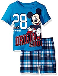 Disney Toddler Boys' Mickey Mouse Plaid Short Set with Tee
