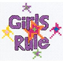 Bucilla 45445 Girls Rule Mini Counted Cross Stitch Kit, 3-Inch by 3-Inch
