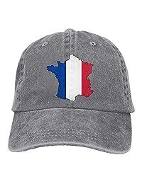 rouqianshangmao Adult Fashion Cotton Denim Baseball Cap France Flag-1 Classic Hat Adjustable Plain Cap