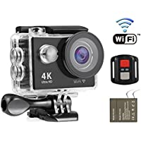 Nexgadget 4K WIFI Action Camera, EXPLORER4 Series, Waterproof DV Camcorder 12MP 170 Degree Wide Angle with 2.4G Remote Control for action sports camera with 2 Rechargeable Batteries