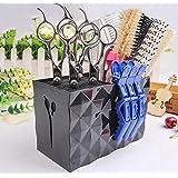 JM-capricorns Professional Salon Scissors Holder Rack, Modern Hairdressing Combs Clips Desktop Desk Organizer Accessories for Hair Stylist Office Home,Hairdresser Scissor Storage Case Keeper. - Black