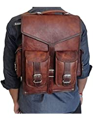 Handoleatherco Vintage Leather Macbook Briefcase 2-in-1 Leather School Bag Backpack Rucksack