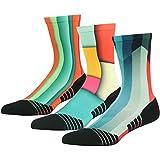 HUSO Unisex Fashion Digital Printing Sports Crew Socks 3, 4, 7 Pairs