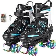 arteesol Roller Skates Adjustable Quad Skate Shoes Full Light Up Wheels Wheels Double Row Roller Skates Unisex