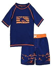 iXtreme Little Boys Swimwear Shark Short Sleeve Rashguard Swim Board Short Trunk, Navy, 3T