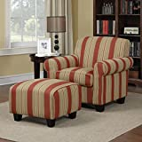Arm Chair And Ottoman Set Suitable For Living Room And Home Office / Study. Overstuffed Cushions and Square Upholstered Foot Stool Ottoman Provide Comfort And Functionality. Striped Fabric, Solid Wood