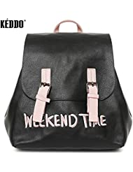 KEDDO Classic Black With Pink Straps Waterproof Vegan Leather Backpack for Girl & Woman. School/College/University...