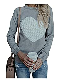 Vosujotis Womens Knit Sweater Pullover Fitting Long Sleeve Heart Casual Tops