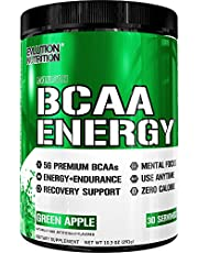 Evlution Nutrition BCAA Energy - High Performance, Energizing Amino Acid Supplement for Muscle Building, Recovery, and Endurance, Green Apple
