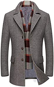 Michealboy Men's Woolen Peacoat for Winter Trench Coat Notched Collar Single Breasted with Free Removable