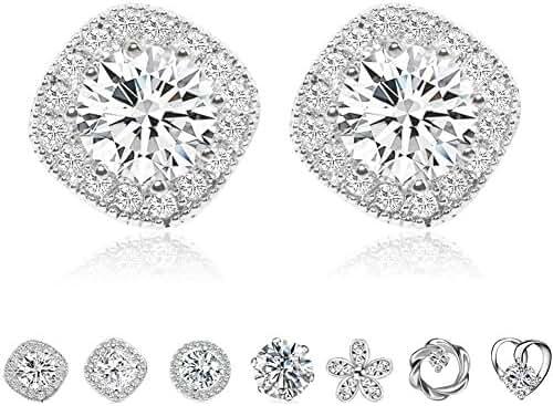 Cubic Zirconia Stud Earrings, Cat Eye Jewels S925 Sterling Silver Round Diamond Crystal Halo Earring