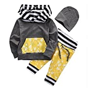 Baby Boys Arrow Pattern Long Sleeve Hoodie T-shirt Top and Long Pants Outfit Set (80 (6-9M), Grey+Yellow)