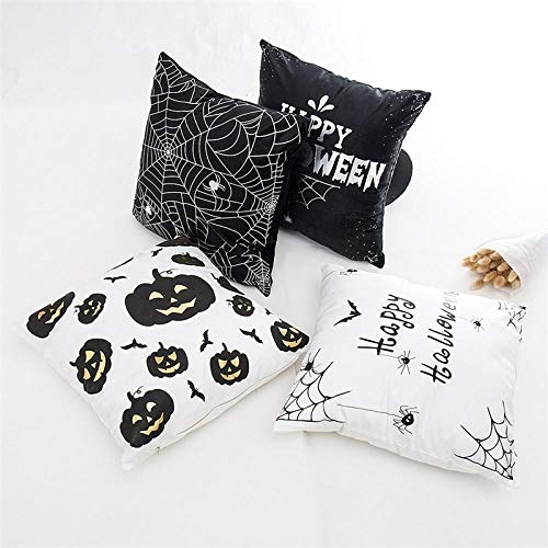 None brand Throw Pillow Cover Stamping Bats Spider Wibe Bats Funda de cojin para sofa Pumpkin Lantern Pillowcase 45 * 45CM Almohadas Protectores 4 Paquete-UNA