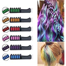 FightingGirl Temporary Bright Hair Chalk Comb,Non-Toxic Washable Hair Colors for Kids, Teens, and Adults, Hair Dyeing Party and Cosplay DIY,6 Colors