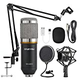 ZINGYOU Condenser Microphone Bundle, BM-800 Cardioid Professional PC Mic Kit with Adjustable Mic Suspension Scissor Arm, Shock Mount and Pop Filter for Studio Recording & Broadcasting (Silver)