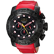 Invicta Men's 'Lupah' Quartz Stainless Steel and Leather Casual Watch, Color:Red (Model: 22490)
