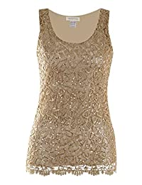 Anna-Kaci Womens Casual Formal Embroidered Lace Sequin Sleeveless Shirt Tank Top