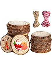 """Fohil Wood Slices, 30PCS Wood Ornaments for Crafts and Christmas Halloween Decor, 2.4""""-3.2"""" Unfinished Wood Round Pieces for Craft Blanks Natural Wood Slices with 16ft Twine and Red Cotton Rope"""