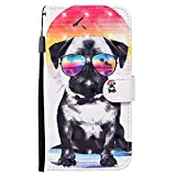 for Samsung Galaxy A81 Wallet Case with Wrist Strap,QFFUN Glitter Glasses Dog Design Leather Phone Case Magnetic Stand Cards Holder Feature Flip Cover
