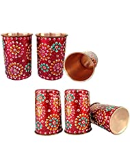 Rastogi Handicrafts Pure Copper Glass Tumblers Hand Painting Art work Outer Side Red (6)